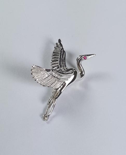 Flying Heron Pendant w Gemstone Eye Sterling Silver 1-3/4 inch