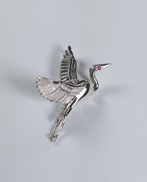 Flying Heron Pin/Pendant w Gemstone Eye Sterling Silver 1-3/4 inch