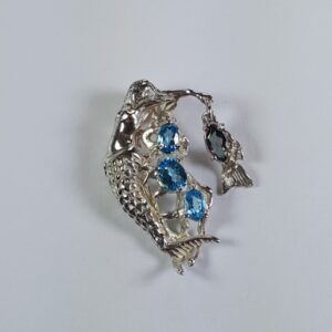 Swimming topaz Mermaid Pendant w (4) Oval Topaz gemstones Sterling Silver 1-1/2 inch