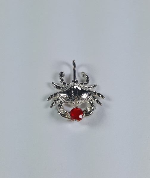 Bailey Crab Pendant Sterling Silver with 3mm Your choice Birthstone 1-1/4 inch