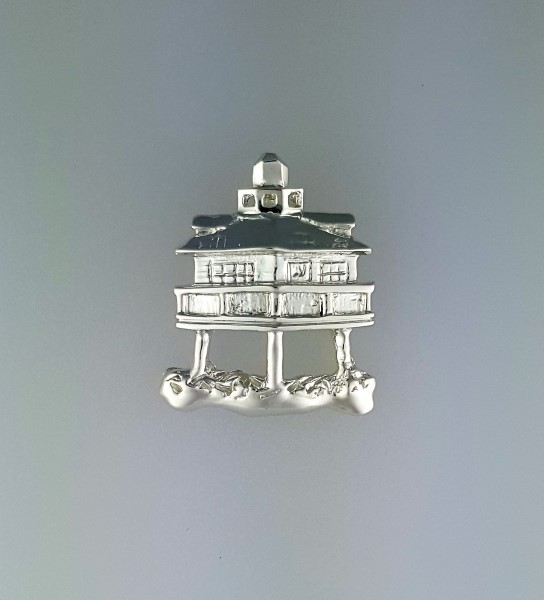 Screw Pile Lighthouse Pendant Sterling Silver 3/4 x 7/8 inch