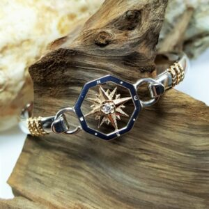 Compass Rose Swap Top Sterling Silver and 14kt Yellow Gold with .06ct Diamond paired w Sterling silver swap top bangle w Gold rope accents