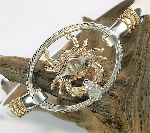14kt Gold Bailey Crab Swap Top w .25ct SI 2 G-H Diamond paired with a sterling silver swap top bangle w Gold rope accents
