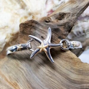 Starfish Swap Top Sterling Silver with 14kt Yellow Gold Starfish paired w sterling silver swap top bangle w Gold starfish accents