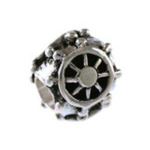Ships Wheel Bead Sterling Silver fits Pandora style bracelet