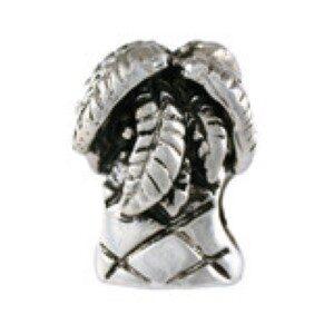 Palm Tree Bead Sterling Silver fits Pandora style bracelet