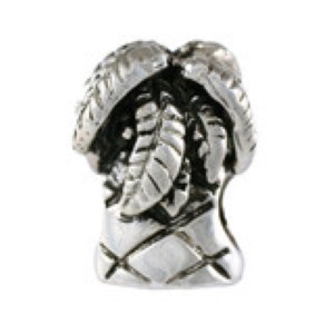Palm Tree Bead Sterling Silver fits Pandora style bracelet