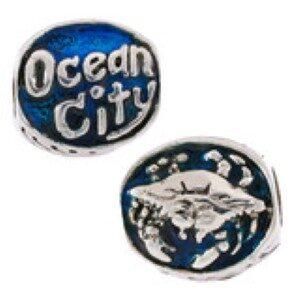 Ocean City Crab Bead Blue enameled Sterling Silver fits Pandora style bracelet