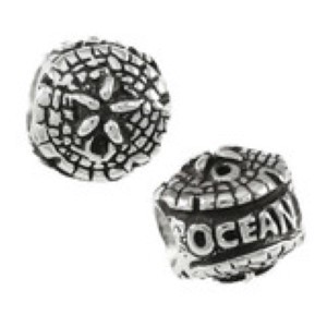 Sanddollar Bead Sterling Silver fits Pandora style bracelet