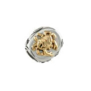 Marsh Bead Sterling Silver with 14kt Yellow Gold Crab fits Pandora style bracelet