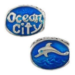 Ocean City Dolphin Bead Sterling Silver fits Pandora style bracelet