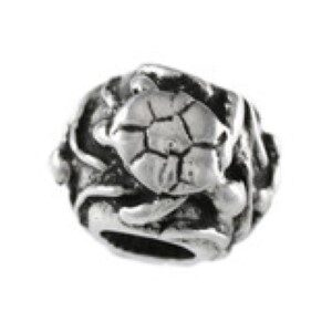 Turtle Swimming Bead Sterling Silver fits Pandora style bracelet