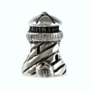 Lighthouse Bead with Stripes Sterling Silver fits Pandora style bracelet