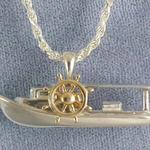 Chesapeake Deadrise Workboat Pendant, Sterling Silver with 14kt Yellow Gold ships wheel medium 1-1/4""