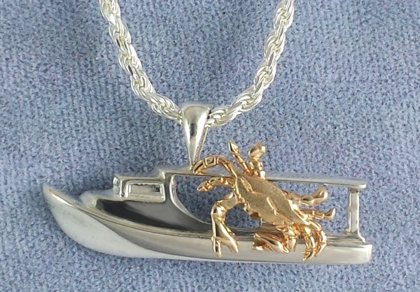 Chesapeake Deadrise Workboat Pendant, Sterling Silver with 14kt Yellow Gold Blue Crab medium 1-1/4""