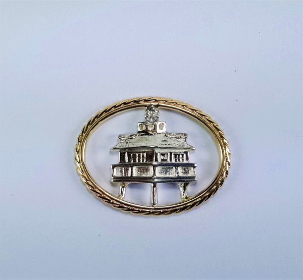 Screw Pile Light House Swap Top 14kt yellow Gold w .05ct diamond Sterling Silver oval