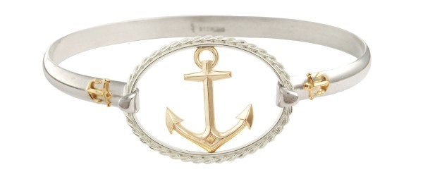 14kt gold Anchor Swap Top with Sterling silver rope oval