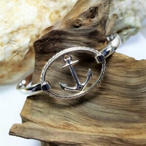 Sterling silver Anchor in oval Swap Top with sterling silver Bangle bracelet