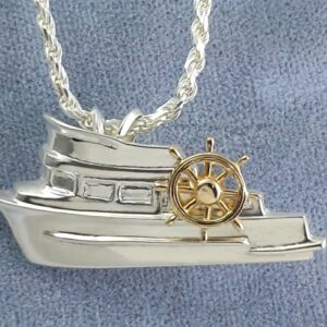 Trunk Trawler Pendant Sterling Silver with 14kt Yellow Gold Ships Wheel 1-1/4 inch
