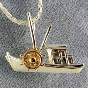 Buy Boat Pendant Sterling Silver with 14kt Yellow Gold Ships Wheel 1-1/4 inch