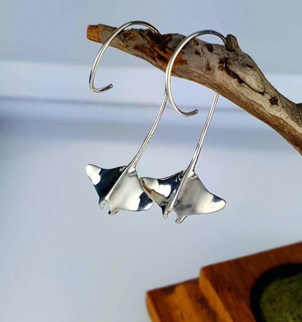 Bay Ray Earrings Sterling Silver 1-1/2 inch