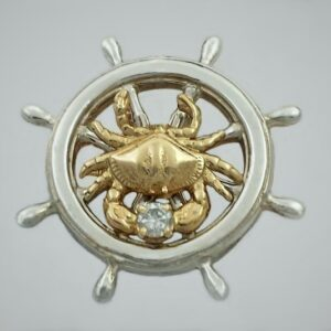 Ship's Wheel Pendant Sterling Silver with 14kt Bailey Crab w .10ct Diamond 1-1/4 inch