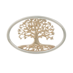 tree of life swap top gold in silver oval