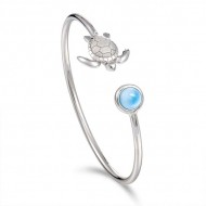 Sterling silver Turtle with Round Larimar cuff bracelet