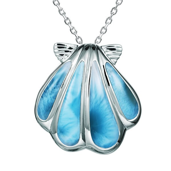 "Sunrise shell Pendant, Larimar inlay, Sterling Silver , 1"" w/chain"