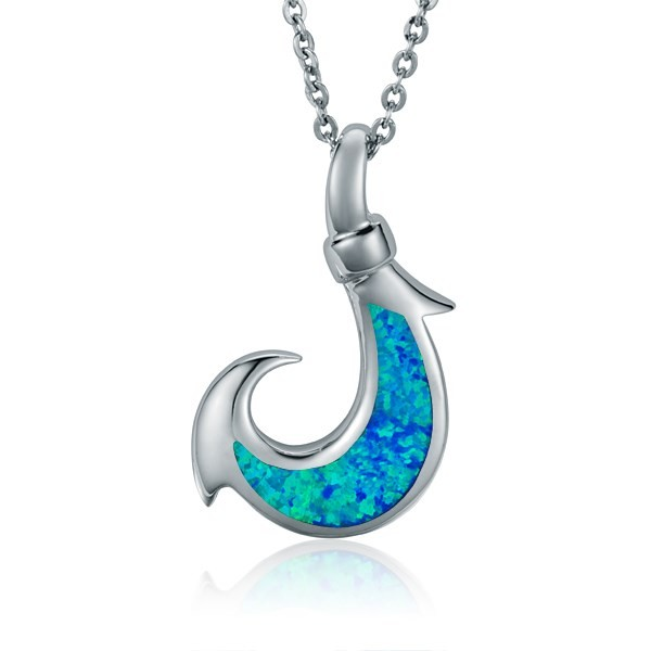 Fish Hook Pendant, blue imlay opal, Sterling Silver w/chain