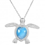 Turtle Larimar w/crystals all around the shell, Sterling , w/chain