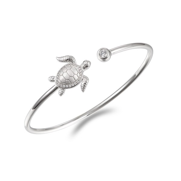 Sterling Silver Crystal Turtle Cuff