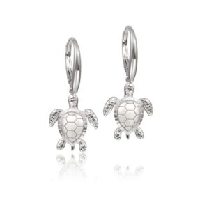 Sterling Silver Turtle Leverback Earrings Satin Finish