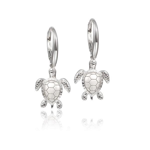 Sterling Silver Turtle Leverback Earrings Satin Finish
