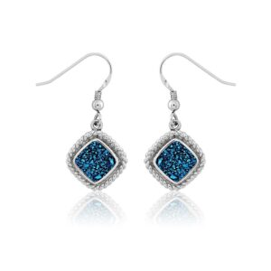 Blue Drusy Sterling silver Dangle ear wires with a rope edge