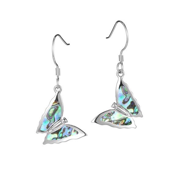 Butterfly abalone wire earrings alamea 039-52-31