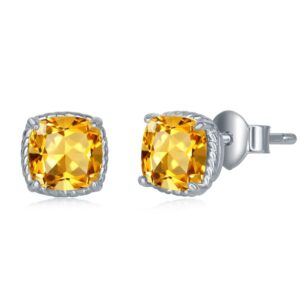 Citrine Cushion cut 7mm Stud Earrings with Sterling Silver Rope edge
