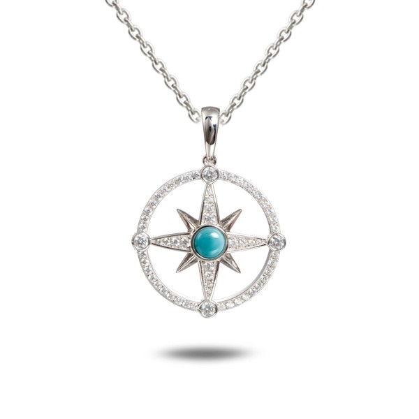 Compass Pendant, Sterling, CZ stones, Larimar stone, with chain