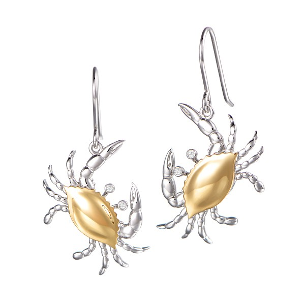 Crab Ear Wires 14K yellow gold back, Sterling Body 1""