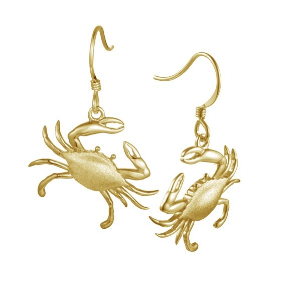 Crab Ear Wires gold Plated Sterling Silver