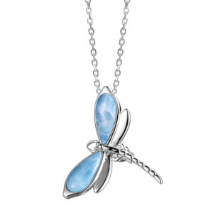 Dragonfly Pendant, Larimar stones,Sterling Silver, w/chain