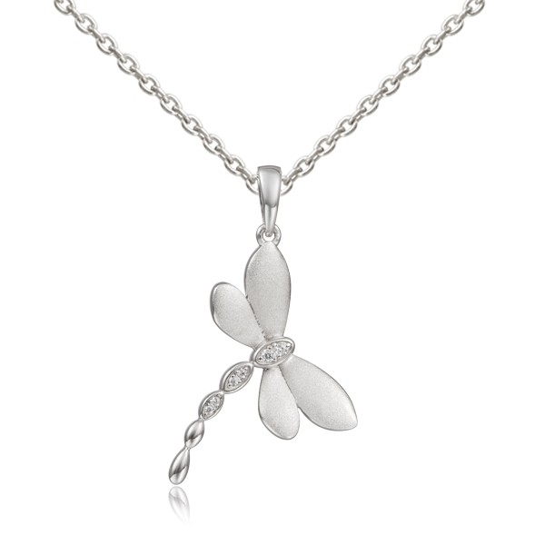 Dragonfly Pendant , Crystal stones, Satinfinish, w/chain 22mm Sterling Silver