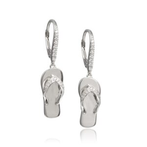 Sterling Silver Flip Flop Leverback Earrings