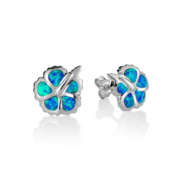 Hibiscus Flower with Blue Opal inlay Sterling Silver Stud Earrings