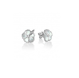 Hibiscus Flower with white mother of pearl inlay sterling silver stud earrings