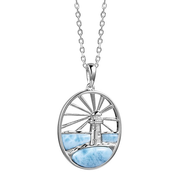 Lighthouse with sun Rays, Larimar, Sterling Silver