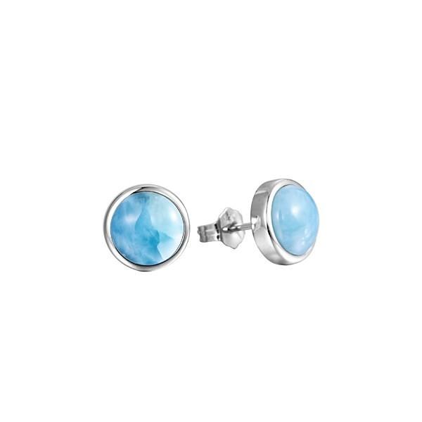 Larimar 10mm Round Stud Earrings Sterling Silver