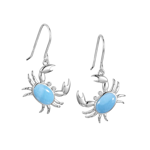 Sterling Silver Crabs with crystal eyes Larimar