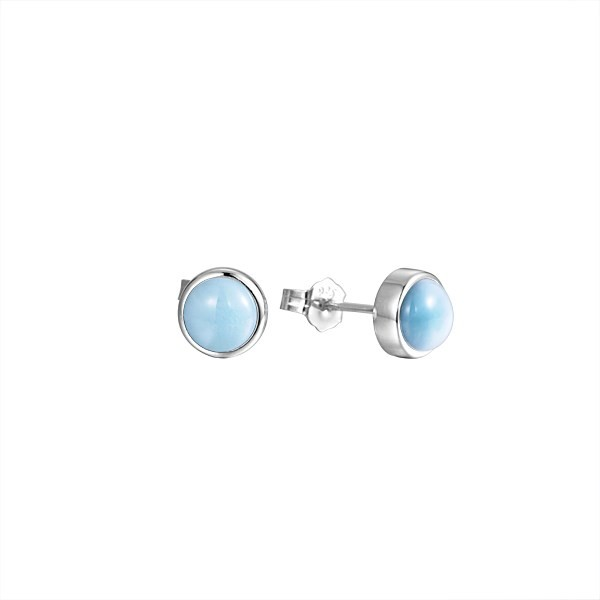 Larimar 8mm Round Stud earrings Sterling Silver