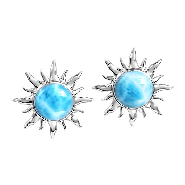 Sterling Silver Larimar Sun Post earrings